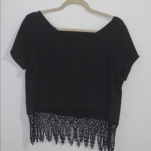 Black lace-bottom Blouse